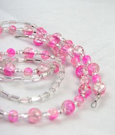 Pink Crackle Glass Beaded Eyeglass Lanyard, Key or Id Badge Necklace by nonie615, $18.00 15% off sale and Free  USPS 1st class shipping.