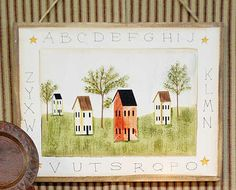 free primitive images to paint on wood | Primitive Salt Box House Wood Sign - Wall Decor - Home Decor