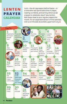 Lenten Prayer Calendar (from Pockets Magazine) - GBOD | Equipping World-Changing Disciples