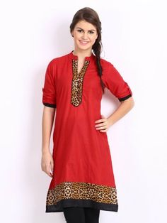 Women Red Kurta by ShopOfIndia on Etsy, $64.99