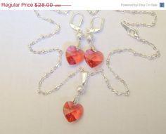 Swarovski Crystal Heart Jewelry Set Stardust by AlwaysCrafty77, $22.40