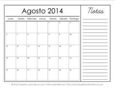 Calendarios imprimibles del 2014 con espacio para notas: Agosto 2014