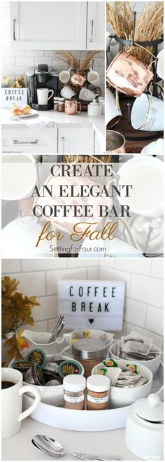 How to create an elegant kitchen coffee bar for Fall that's perfect for family as well as entertaining friends and guests! See all the details: This countertop coffee station decorated with fall foliage is a pretty way to display your coffee pot, mugs, co Coffee Bars In Kitchen, Kitchen Small, Home Coffee Stations, Vintage Industrial Decor, Autumn Coffee, Tea Station, Elegant Kitchens, Budget, Coffee Corner