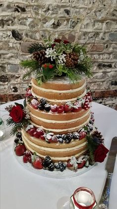 Winter naked wedding cake at Upwaltham Barns by wedding kate - Being Frugal: Wedding Edition - Gateau Winter Barn Weddings, Barn Wedding Venue, Wedding Reception, Christmas Wedding Decorations, Christmas Wedding Flowers, Xmas Wedding Ideas, Wedding Stuff, Quinceanera Cakes, February Wedding