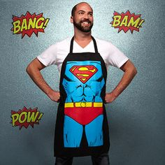 Great Fathers Day Gift Idea. Superman BBQ apron.