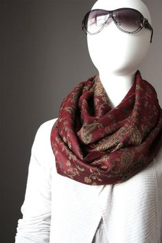Merlot pashmina Scarf  infinity  scarves red by ScarfObsession, $29.00