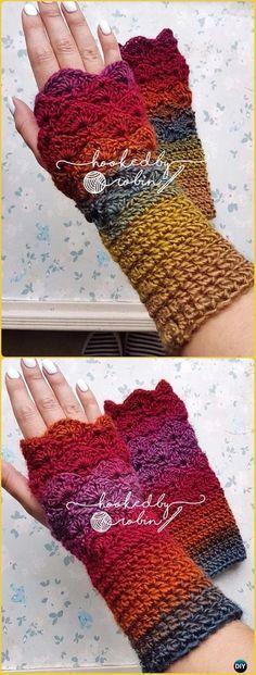 Crochet Fantail Stitch Fingerless Gloves Free Pattern - Crochet Arm Warmer Free Patterns