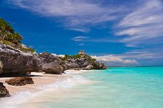 This beach that is steps away from real, ancient Mayan ruins: Tulum, Quintana Roo, Mexico.