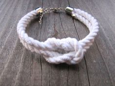 Chunky Nautical Woven Knot Bracelet // White // by hardlyExpected
