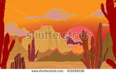 Summer landscape. Landscape in red tones. Desert with cacti, scorching sun. Vector background.