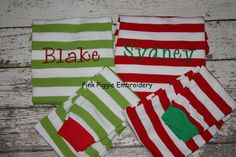 Monogrammed Christmas Pajamas for Boys & Girls  RED Striped. .