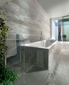 Mid grey marble effect floor and wall tiles in a cool bathroom. Large Format Tile, Condo Remodel, Marble Effect, Contemporary Interior, Bathroom Wall, Amazing Bathrooms, Home Interior Design, Light In The Dark, Ava