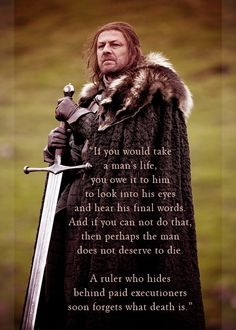 "Eddard ""Ned"" Stark - game-of-thrones Fan Art - what a fantastic character.  If only all men could be so noble..."