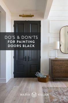 Dark Interior Doors, Farmhouse Interior Doors, Interior Door Colors, Painted Interior Doors, Door Paint Colors, Inside Front Doors, Black Front Doors, Painted Front Doors, Paint Doors Black