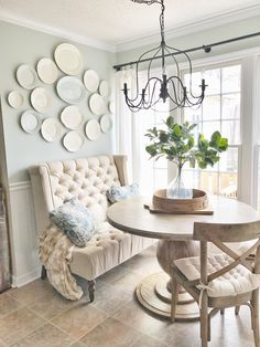Farmshouse Breakfast Nook with a French Flair- Mixed Seating Options. Read More on Plum Pretty Decor and Design's Blog.