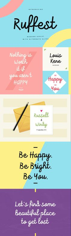 Ruffest is modern script font, every single letters have been carefully crafted to make your text looks beautiful. Modern Script Font, Modern Typography, Web Ui Design, Design Art, Stylish Fonts, Typo Logo, Wedding Fonts, Branding, Font Setting