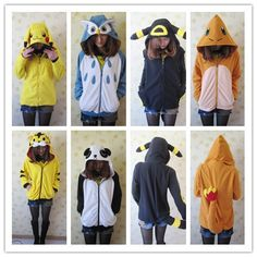 Animal pokemon/Umbreon/Charmandar/Pikach/Panda/Owl/Yellow Tiger coat hoodie cos