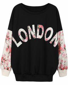 Black Contrast Florals LONDON Print Sweatshirt
