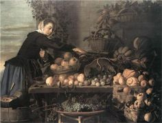 """Frans Hals """"Fruit and Vegetable Seller"""", 1630 (The Netherlands, Baroque / Dutch Golden Age, cent. Rembrandt, List Of Paintings, Marie Madeleine, Art Occidental, Baroque Art, Dutch Golden Age, Fruit Painting, Dutch Painters, Dutch Artists"""