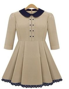 A shirtwaist dress, double breasted button, round neck, peter pan collar and scalloped hemline