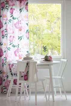 Pioni Fabric    Pentik Spring 2018   Create a beautiful spring home with sophisticated Pioni (Peony) pattern where hefty flowers on the surface of the fabric remind us of plentiful summer garden. Deliciously pink Pioni (Peony) makes your home bloom.