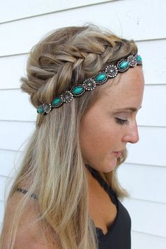Trendy Long Hair Women's Styles Headbands of Hope — Teal Lush. Hairdo to copy if you are going to a summer festival. Braid, headband and long straight hair. Pretty Hairstyles, Braided Hairstyles, Wedding Hairstyles, Girl Hairstyles, Romantic Hairstyles, Pirate Hairstyles, Hairstyles With Headbands, Country Hairstyles, Beach Hairstyles