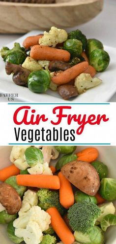 Air Fryer Vegetables This is on of the most easy easy recipes you can make in an Air Fryer. These Air Fryer Vegetables are quick to make, super delicious and very healthy. They are great as a side dish to any meal or alone for a light lunch. Air Fryer Recipes Breakfast, Air Fryer Oven Recipes, Air Frier Recipes, Air Fryer Dinner Recipes, Healthy Dinner Recipes, Cooking Recipes, Easy Recipes, Vegetarian Recipes, Cooking Tips