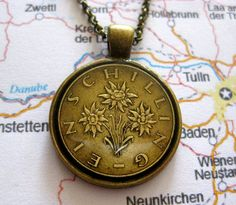 Austrian One Schilling Coin Edelweiss by PennysCoinCreations