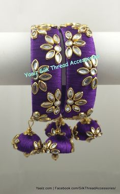 Yaalz Kundan Stone Work Bangle Set In Purple Color !! Price Rs.700 Per Pair For Orders Ping us In WhatsApp +91 8754032250