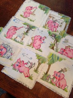 "1940s Vintage pink elephant cocktail napkins.. hand painted on linen.. signed ""by Edith"""
