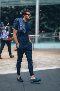 slim // trousers, loafers, tassel loafers, tshirt
