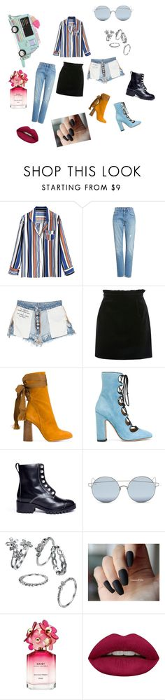"""""""Tuck your stripe shirt"""" by miloni-jhaveri ❤ liked on Polyvore featuring Levi's, Unravel, Topshop, Chloé, Valentino, 3.1 Phillip Lim, Kate Spade, For Art's Sake, Marc Jacobs and Huda Beauty"""