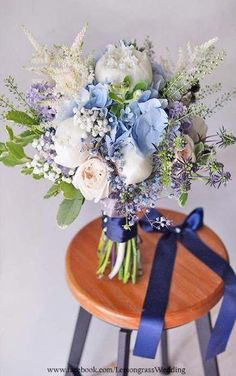 When it concerns picking wedding flowers, many bride-to-bes might know the wedding flower they want in their own bouquet, but are a little mystified about the rest of the wedding event flowers needed to complete the event and reception. Purple Wedding Bouquets, Purple Wedding Flowers, Flower Bouquet Wedding, Blue Flowers, Purple Hydrangeas, Flowers Vase, Boquette Wedding, Wedding Flower Guide, Floral Wedding