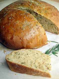 Rosemary Olive Oil Bread...a loaf so flavorful that it needs no accompaniment. The rosemary is prominent but not overwhelming. And while this bread is best enjoyed warm out of the oven, it can be frozen and reheated later.