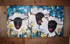 friendsheep in the flowers by pennydobson on Etsy