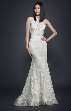 LZ3710  collection Spring 2017  Ivory floral embroidered net over sparkle Tulle trumpet gown. Bateau neckline/V back. Cathedral train. Available in ivory. Dress in Store in early 2017.