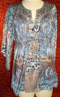 LIVE AND LET LIVE blue paisley stretch polyester tunic blouse L (T32-03I5) #LIVEANDLETLIVE #Blouse #Casual
