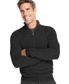 Club Room Cashmere Quarter-Zip Solid Sweater