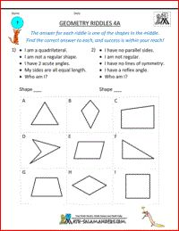 Geometry Riddles 4A, 4th grade geometry riddles