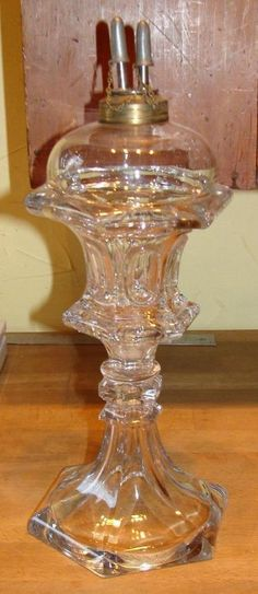 """Antique Sandwich Clear Pressed Glass """"Waisted Loop"""" Whale Oil Lamp, c. 1840"""