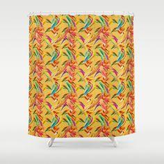 Hummingbird pattern shower curtain.