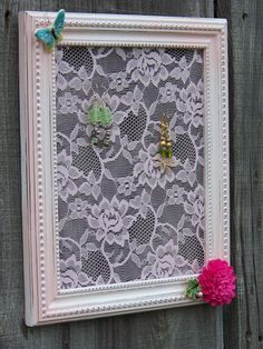 Repurposed frame created into a pink Shabby Chic Lace Frame Earring Holder. Princess Waif style... every little girl needs one.