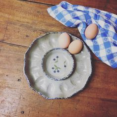 Beautiful handmade stoneware egg plate with hand painted blueberry design. Deviled Eggs, Your Favorite, Stoneware, Cravings, Blueberry, Pine, Pottery, Hand Painted, Treats