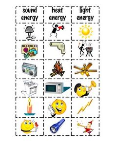 This is an activity that you can use when you are teaching about the different forms of energy.