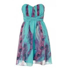 Aqua And Purple Chiffon Feather Print Dress ❤ liked on Polyvore