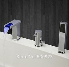 99.20$  Watch here - http://alikr7.worldwells.pw/go.php?t=2053458656 - Newly Fashion LED Light Changing Bathroom Waterfall Tub Faucet Set Mixer Tap Chrome Polished W/ ABS Handheld Shower Deck Mounted