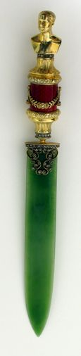 Possible (provenance has not been definitely established) Faberge jade, enamel, diamond and vermeil letter opener created between 1906 to 1918