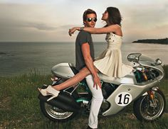 100 Nights of Summer Hotness: Dresses, Jackets, Tees, and True Blood's Ryan Kwanten Motorcycle Engagement Photos, Engagement Pictures, Ryan Kwanten, Girl Senior Pictures, Senior Pics, Biker Love, Marrying My Best Friend, Dress Out, Picture Poses
