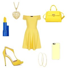 """""""All yellow"""" by kacey1960 ❤ liked on Polyvore featuring New Look, Salvatore Ferragamo, Casetify and Lana"""