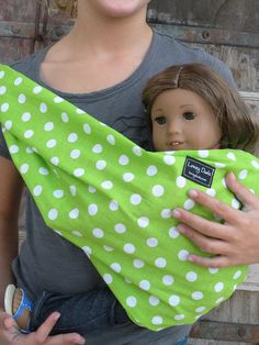 LARGE-Baby Doll Sling Carrier-Perfect For American Girl Dolls-READY To SHIP- Lime Polka Dots-Free Shipping When Purchased With A Wrap. $13.00, via Etsy.